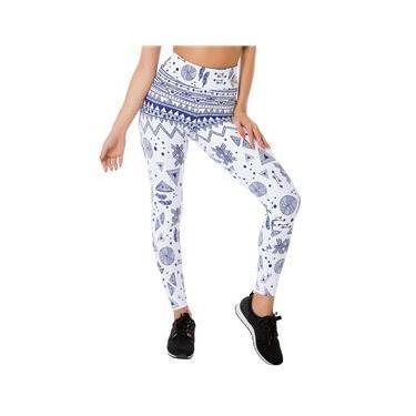Imagem de Calça Legging Academia Jacquard Barrado Branco e Azul Fitness Poliamida Ref 5013B
