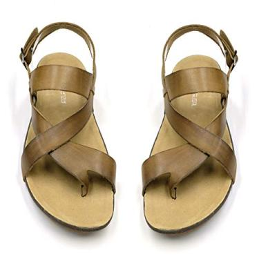 Sandália masculina de couro genuíno da Harssidanzar GM201, Caqui, 11