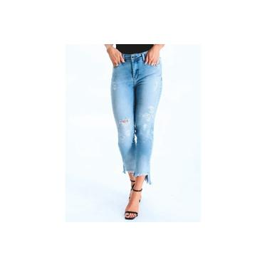 Calça Arsiè Jeans Skinny Cropped Destroyed Assimétrica