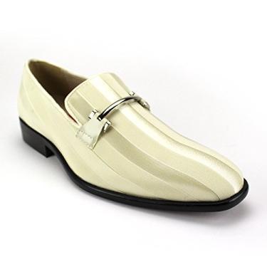 Sapato social masculino Expressions 6757 de cetim listrado e sem cadarço da RC Roberto Chillini, Ice, 10.5