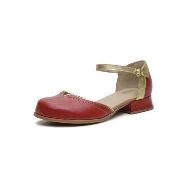 Sapato Feminino Miuzzi Ref 3205 Cereja / Ouro