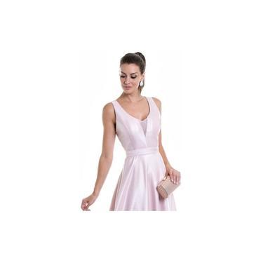 Vestido Zibeline Madrinha Formatura Rosa Ou Marsala Decote V