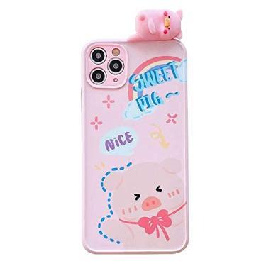 Capa super fofa SGVAHY compatível com iPhone 7/8/SE2, desenho animado 3D divertido criativo porco com estampa de animal, capa protetora à prova de choque de silicone macio (Sweet Pig, iPhone 7/8/SE2)