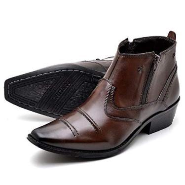 Imagem de bota masculina cano curto estilo texana, em legitimo couro bovino tipo vegetalle, forrada, solado de borracha antiderrapante cla modelo R-608 (44, vegetalle/cafe)