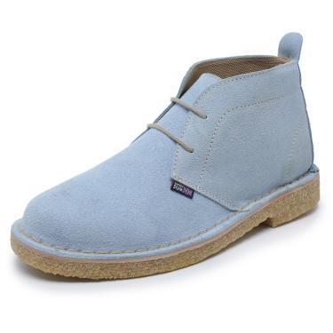 Bota com ponteação lateral estilo vintage solado crepe London Style cor azul céu  unissex