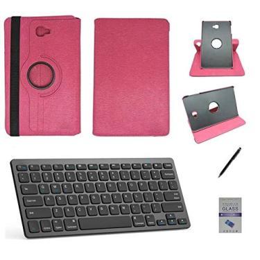 """Kit Capa/Teclado/Can/Pel Galaxy Tab E T560/T561 9.6"""" Rosa"""
