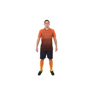 Fardamento Completo modelo City 18+1 (18 Camisas Laranja/Preto + 18 Calções Madrid Preto + 18 Pares de Meiões Laranjas + 1 Conjunto de Goleiro) +