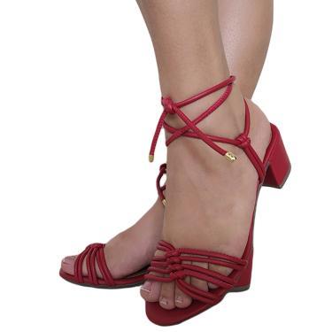 Imagem de Sandalia Janne Ferrari Salto Quadrado Baixo Médio Com Amarração 4 Nós Vermelho  feminino