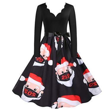 ZEFOTIM Vestido de Halloween Natal 2020, vestido feminino vintage de manga comprida anos 50 para dona de casa para festa noturna, Christmas#18, Medium