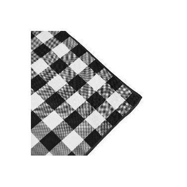 Imagem de Toalha De Mesa Retangular Em Tecido Xadrez Preto E Branco 2,20m
