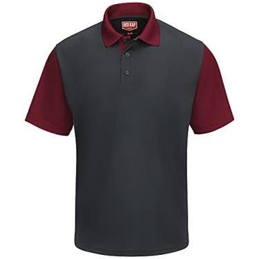 Imagem de Camisa polo Red Kap Performance SK56, Charcoal / Burgundy, XL