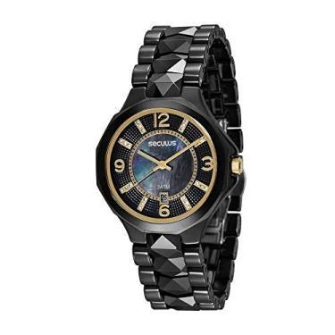 74786037d419c Relógio Seculus Feminino Analógico com Calendário Preto 20540L0SVNQ1