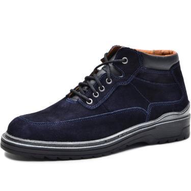 Bota Worker Over Boots Couro Camurça Azul Naval  masculino