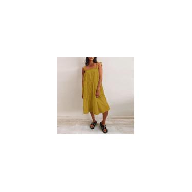 Imagem de Vestido de verão colete branco / amarelo / preto feminino alça de espaguete sem mangas cor sólida solto casual plissado vestido plus size Amarelo L