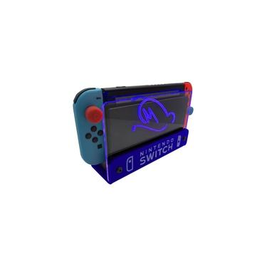 Suporte Bancada/Parede Nintendo Switch Iluminado - Mario Odyssey - Base Azul LED Azul