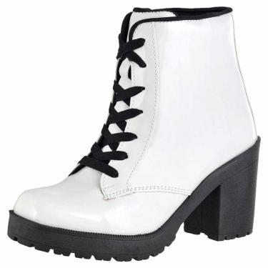 Bota Cano Curto Verniz DR Shoes Branco  feminino