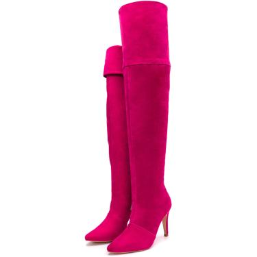 Bota Over Salto Fino Cano Alto Camurça Pink  feminino