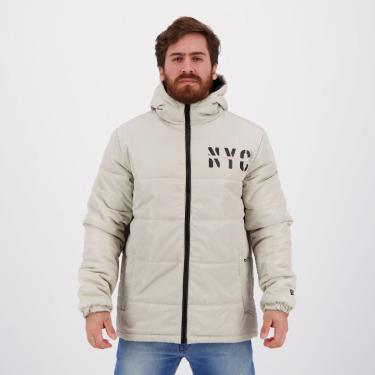 Jaqueta New Era Puffer Branded Cities NYC Bege - M