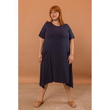 Vestido Evasê com Bolsos Plus Size Marinho-56/58