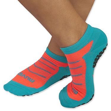 Meia Pilates - Azul/laranja - 34-39