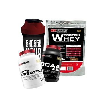 Kit Whey Protein + Bcaa + Creatina + Coqueteleira - Bodybuilders