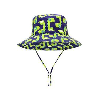 Century Star Chapéu de sol para bebês meninos com proteção solar chapéu de verão chapéu de aba larga chapéu de praia, R Dinossauros verdes, 12-24 meses