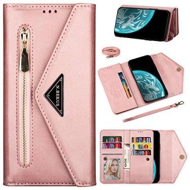 XYX Capa carteira para Samsung A52 5G, Galaxy A52 5G capa com compartimento para cartão de crédito, corrente transversal, bolsa de pulso com zíper, capa de couro para Samsung Galaxy A52 5G - ouro rosa