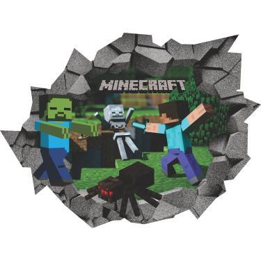 Adesivo 3D Buraco na Parede Minecraft Geek Games Decoração