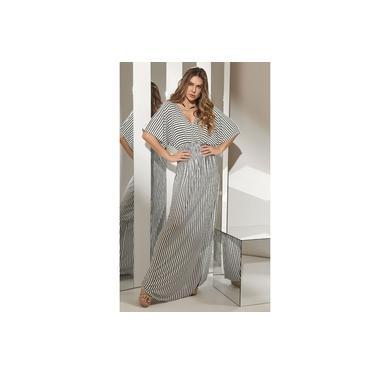 Vestido longo Natural Basic Malha Preto e Branco