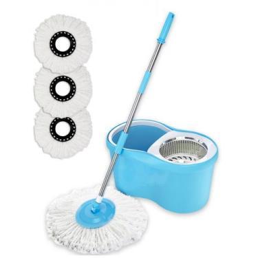 Balde Spin Mop 360 Com 3 Refil Esfregão Microfibra - Azul - Mazzilli