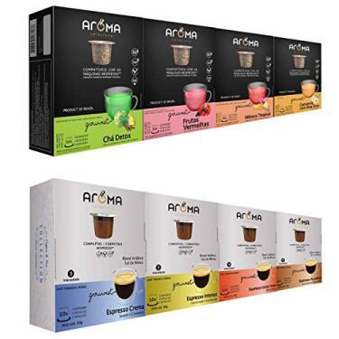 100 Cápsulas Para Nespresso - Kit Degustação Café E Chá - Cápsula Aroma