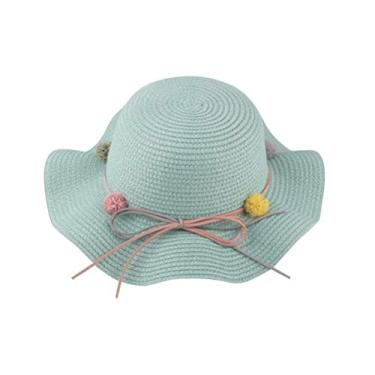 SOIMISS Chapéu de bebê de praia de verão Chapéu de proteção solar moda palha tecida boné infantil Cool (verde claro)