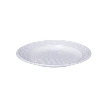 Prato de Plástico Descartável Branco Ø 15cm Raso com 10 Unidades Kerocopo