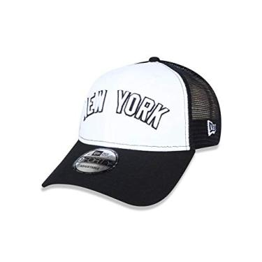 ef0bce0d2f899 BONE 940 NEW YORK YANKEES MLB ABA RETA SNAPBACK BRANCO/PRETO NEW ERA