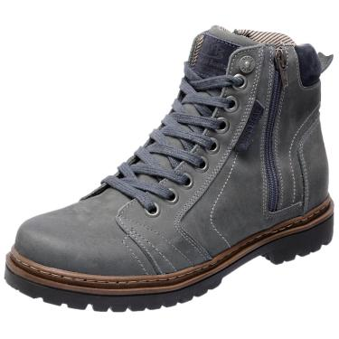 Bota Coturno em Couro Mega Boots 6015 Cinza  masculino