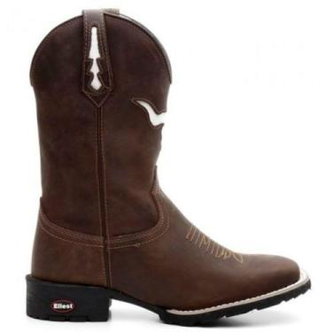 Imagem de Bota Texana Country Masculina Marrom Boi Branco 7Mboots