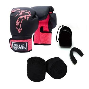 Imagem de Kit Boxe Muay Thai Luva Bandagem Bucal Brazuca Rosa 12oz - Mma Brazuca
