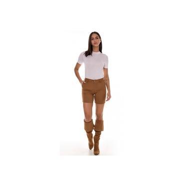 Bermuda Jeans Express Meia Coxa Color Lisa Mostarda