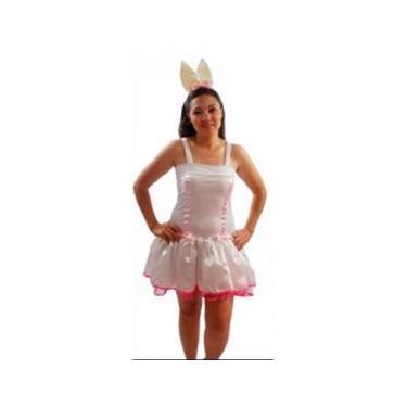 Imagem de Fantasia Vestido Coelha Páscoa Adulto Especial - Branca