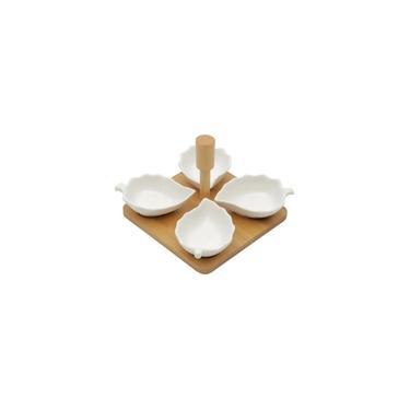 Imagem de Conjunto 4 Petisqueiras Porcelana com Suporte Bambu Leaves 15x15x12cm