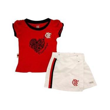 38eacf3f00 Conjunto Short Saia Meia Malha Microfibra Menina Flamengo Reve Dor