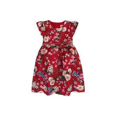 Vestido Infantil Momi Rotativo Cherry Flowers Cereja