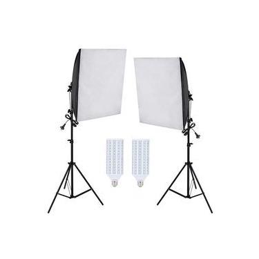 Kit Iluminação Estúdio LED 2x60W Softbox 40x60cm com Tripé