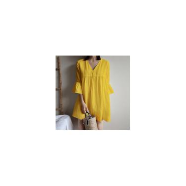 Vestido feminino 3/4 manga flare decote em V solto vestido blusa casual plus size vestido túnica de verão minivestido de férias Amarelo 4XL