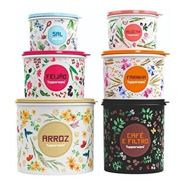Imagem de Tupperware Kit 6 Peças Linha Floral Caixas Mantimentos Arroz