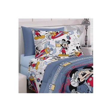 aea69fa95e Kit Infantil Mickey Cortina + Jogo De Cama Santista