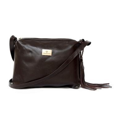 Bolsa feminina de couro legítimo tamanho médio Via Focco