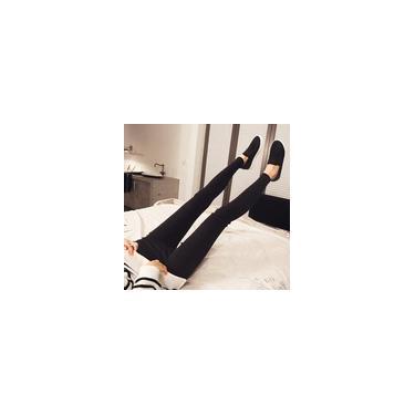Moda feminina Calças Lápis Slim-fit Calças alta-rise calças cintura poliéster