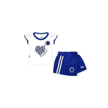 Conjunto Revedor Cruzeiro Short Saia Coração Menina Branco E Azul