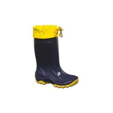 Bota Cano Longo Infantil C/ Amarra Azul/amarelo N°24/5